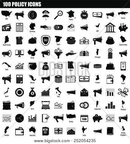 100 Policy Icon Set. Simple Set Of 100 Policy Vector Icons For Web Design Isolated On White Backgrou