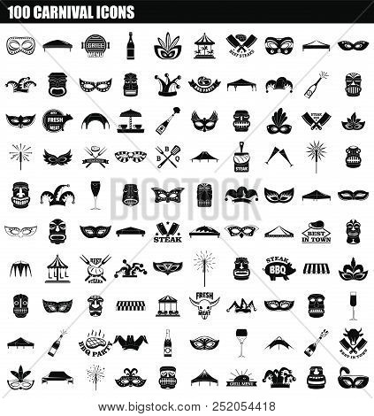 100 Carnival Icon Set. Simple Set Of 100 Carnival Vector Icons For Web Design Isolated On White Back