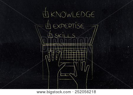 Knowledge Expertise Skills Ticked Off Caption Popping Out Of Laptop Screen From Above, Concept Of On