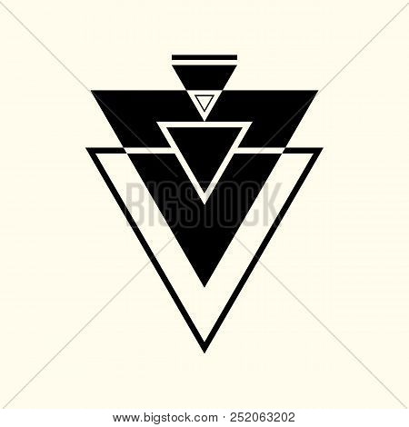 Sacred Geometry. The Crossed Linear Triangles. Secret Symbol Of Geometry. Triangular Symbol. Labyrin
