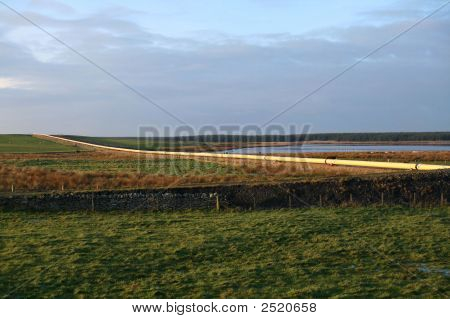 An active oil pipeline in Wester Sinclair Bay Caithness Scotland. poster