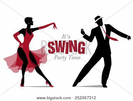 Elegant Couple Dressed In 1950s Clothes Style, Dancing Jazz Or Swing