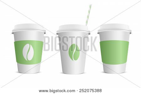 Vector Realistic Blank Paper Coffee Cup Isolated On White. Vector Illustration.