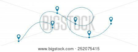 Dotted Blue Path With Points Or Way To Somewwhere. Vector Illustration