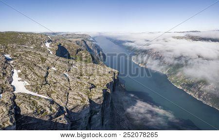 Aerial View Of Kjerag Plateau And Lysefjorden