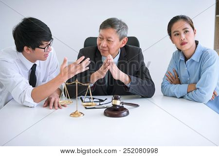 Unhappy Divorce Couple Having Conflict, Man And Wife Conversation During Divorce Process With Senior