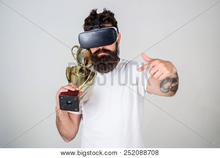 Achievement Unlocked. Feel Victory In Virtual Reality Games. Achieve Victory. Hipster Virtual Gamer