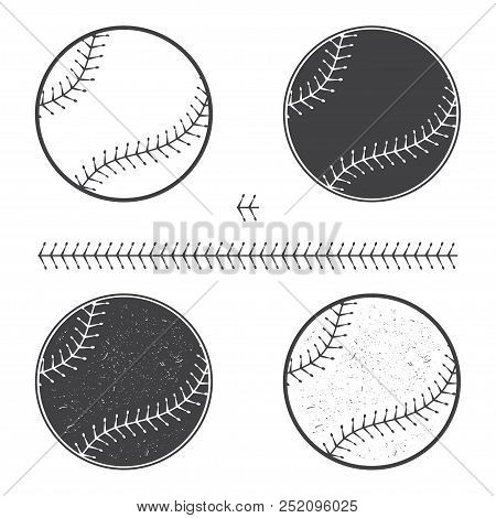Set Of Baseball Icon And Seam. Vector Illustration. Baseball Seam Brushes.