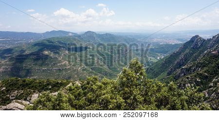 A View Of The Montserrat Mountain Range From High Above, Spain.