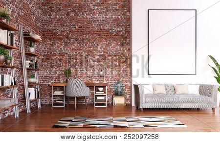 Mock Up Frame In Home Office Design, Modern Workspace Room, 3d Illustration