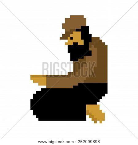 Homeless pixel art. Beggars 8 bit. digital Poor. bum hobo Vector illustration poster