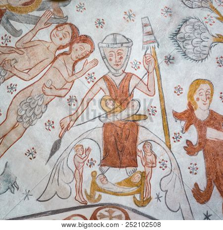 Eve In The Paradise, Spinning With Her Two Children Cain And Abel, An Ancient Gothic Mural In The Pu