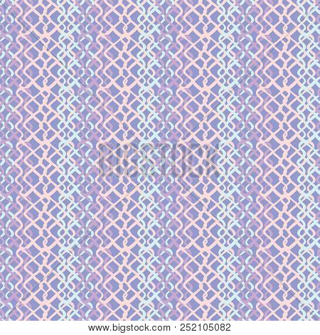 Lilac Abstract Fish Net Loop Pattern, Seamless Vector Background, Hand Drawn Scribble Illustration O