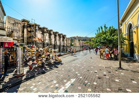 Athens, Greece - September 13 2017: Tourists Souvenir Shopping And Sightseeing In Athens Greece Near