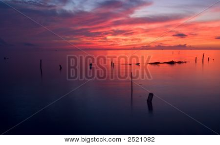 Sunrise over Galveston Bay in Seabrook Texas. poster