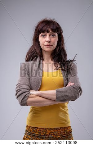 Sceptical Woman Staring At The Camera