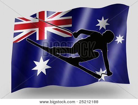 Country Flag Sport Icon Silhouette Australia Ski poster