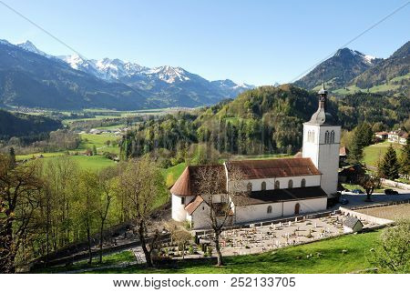 Aerial View Of A Swiss Country Village Gruyeres.