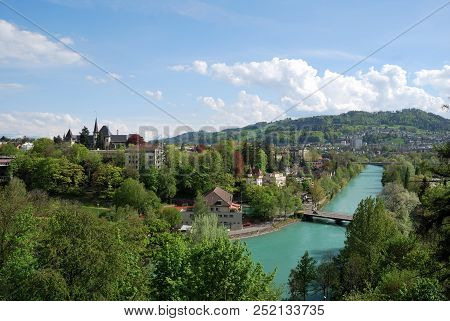 View Of Berne And The Aapa River, Switzerland.