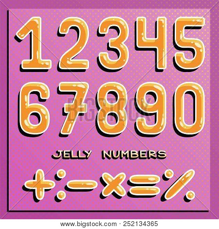 Numbers Set. Honey Numbers. Funny Numbers. Vector Clip Art.