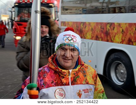 Omsk, Russia - December 9th, 2013: Olympic Torch Relay In Omsk, Russia