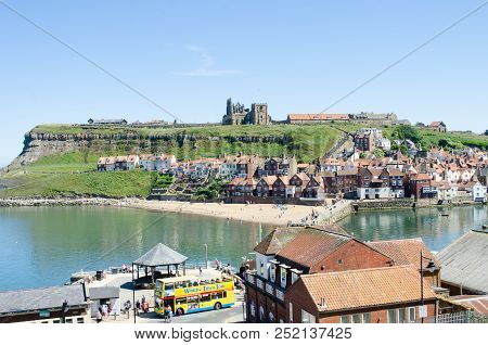 Whitby Yorkshire Uk  - 25 June 2018: View Over Whitby Town  From The 199 Steps