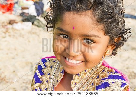 Pondichery, Puducherry, Tamil Nadu, India - March Circa, 2018. Unidentified Smiling Face Portrait Of
