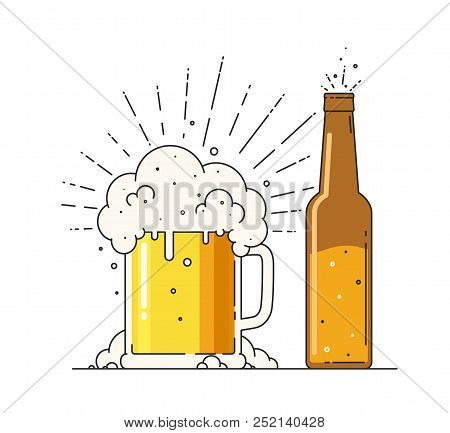 Beer Mug With Foam And Bottle. Sign Of Alcoholic Or Nonalcoholic Drink In Flat Style On A White Back