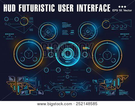 Futuristic Blue Virtual Graphic Touch User Interface, Target, Hud Interface Dashboard, Virtual Reali