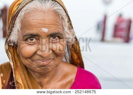 Rameshwaram, Tamil Nadu, India - March Circa, 2018. Portrait Of An Unidentified Asian Senior Beautif