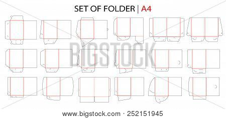 Folder Set With Gusset Die Cut Stamp. Empty Shablon Template For A4 Documents And Business Card With