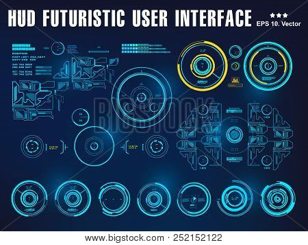 Hud Interface Dashboard, Virtual Reality Interface, Futuristic Virtual Graphic Touch User Interface,