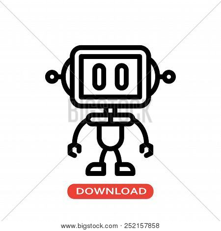 Robot Vector Icon Flat Style Illustration For Web, Mobile, Logo, Application And Graphic Design. Rob