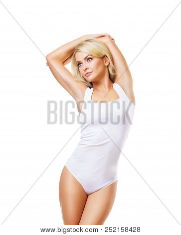 Fit, Beautiful And Sporty Woman In White Underwear. Girl With A Perfect Body Posing In Swimsuit Isol