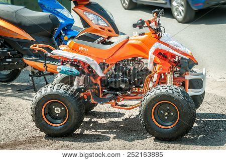 Novi Sad, Serbia. July - 25. 2018. Small New All Terrain Vehicle Atv Quad And Scooter Motorcycles Pa