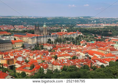 Panaoramic View Of Prague Castle From Petrin Hill In Prague (praha), Czech Republic