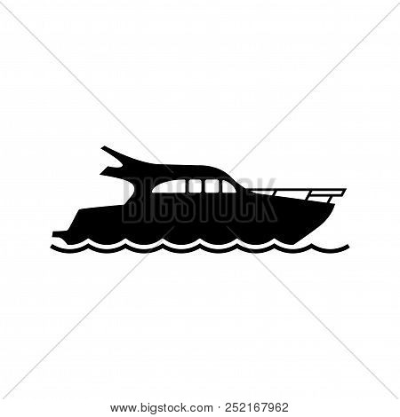 Vector Yacht Icon. Yacht Silhouette On White Background. Black Speed Boat Symbol. Ship Logo. All In