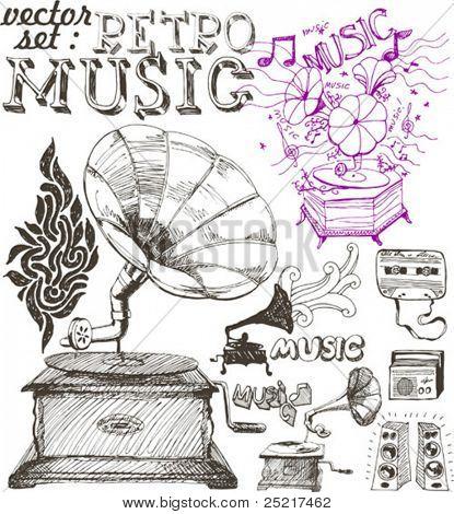 Vector illustration of retro gramophone and musical symbols