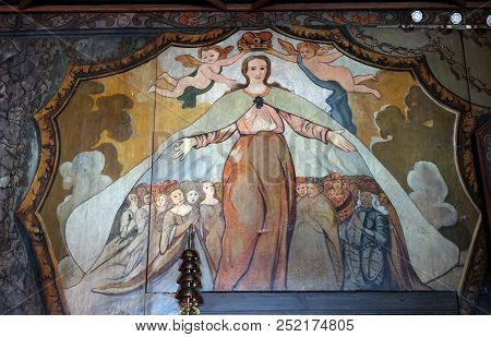 VELIKA MLAKA, CROATIA - MARCH 28: St. Barbara, a virgin and a martyr, a protector of miners and a good death, altarpiece in the Church of the Saint Barbara in Velika Mlaka, Croatia on March 28, 2017.
