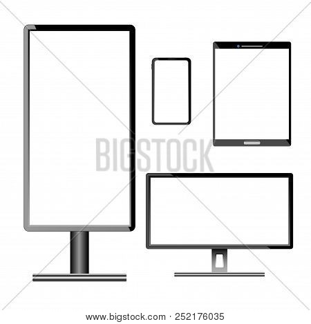 Set Of Electronic Equipment With White Screen Isolated On White Background, Vector Illustration.