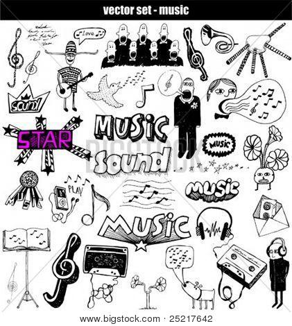 Hand-drawn musical set
