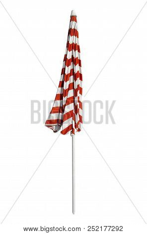 Beach Umbrella Closed - Red-white Striped