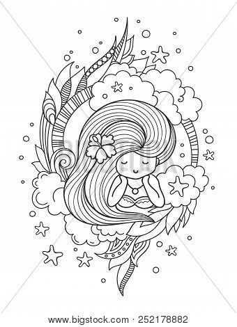Portrait Of Dreamy Pensive Girl With Long Hair. Page For Coloring Book, Greeting Card, Print, T-shir