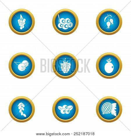 Viticulture Icons Set, Flat Style For Any Design