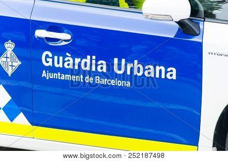Barcelona, Spain - June 7, 2018: Sign Of Catalonian Urban Guard (guardia Urbana De Barcelona). Munic