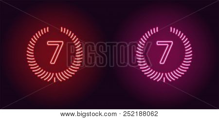 Neon Seventh Place In Red And Pink Color. Vector Illustration Icon Of Seventh Position In Glowing Ne