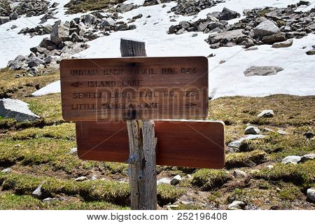Continental Divide Trail Sign In Wind Rivers Range Wyoming Along Continental Divide Trail No. 094, F