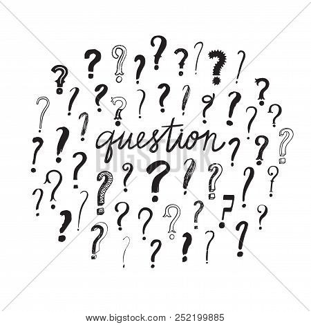 Hand Drawn Question Marks Set. Question Title. Doodle Illustration For Your Design.