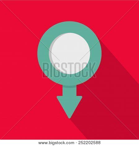 Pushpin icon. Flat illustration of pushpin  icon for web poster