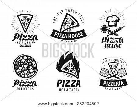 Pizza, Pizzeria Logo Or Label. Food Icon Set. Vector Illustration